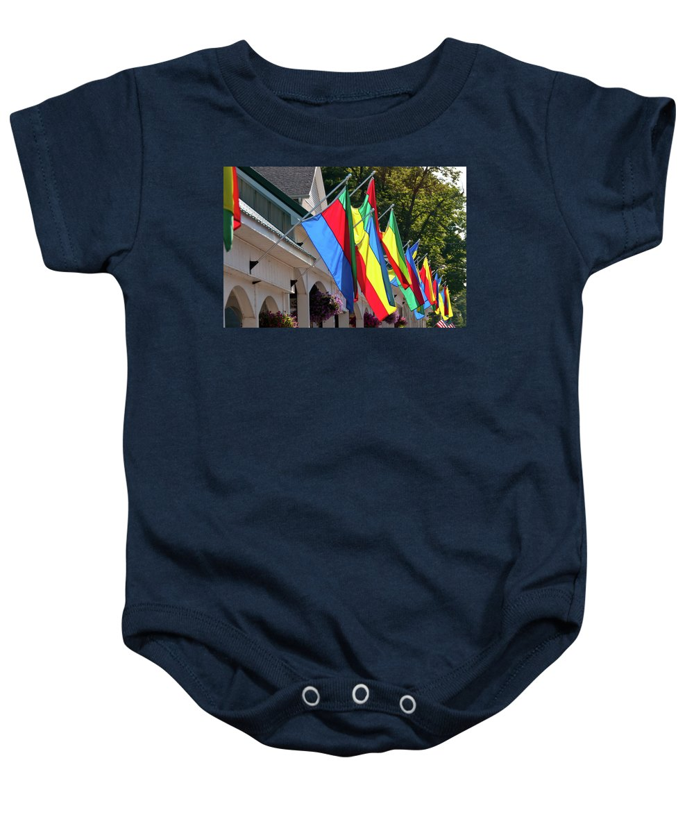 Flags Baby Onesie featuring the photograph Olcott Flags 7183 by Guy Whiteley