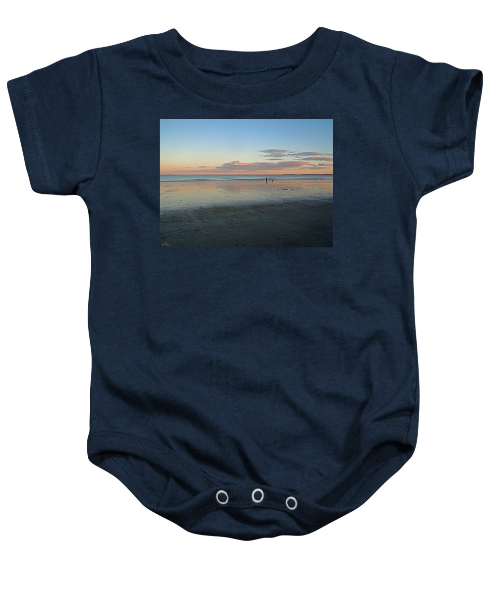 Beach Baby Onesie featuring the photograph Solo By The Sea by Nancy Griswold