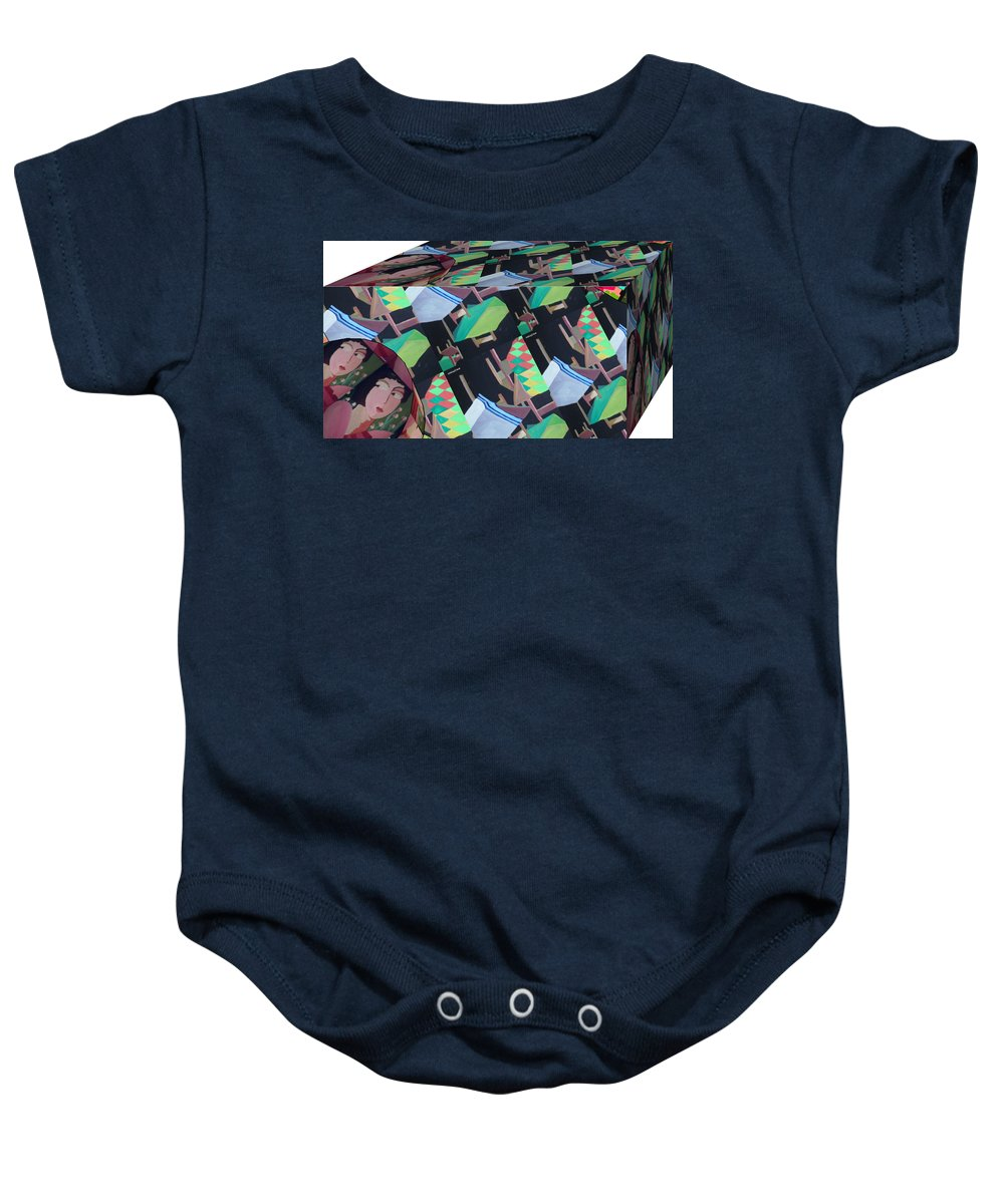 Cube Baby Onesie featuring the painting Cube by Ana Johnson