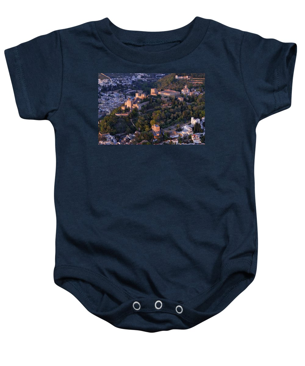 The Alhambra Baby Onesie featuring the photograph La Alhambra by Guido Montanes Castillo