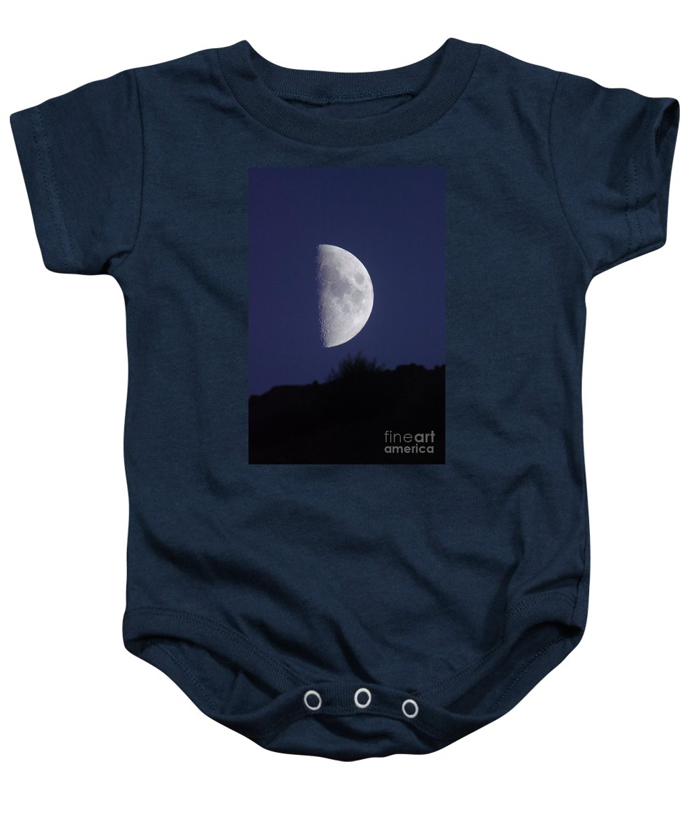 Moon Baby Onesie featuring the photograph Moon Over The Mountain Side View by Jeff Swan