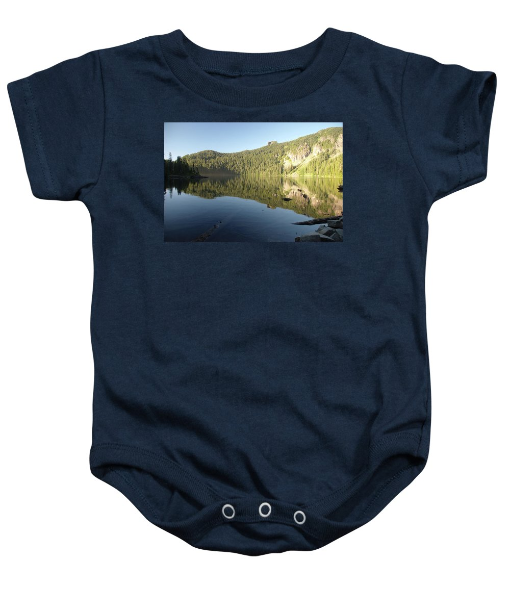 Mowich Baby Onesie featuring the photograph Mowich Lake by Michael Merry