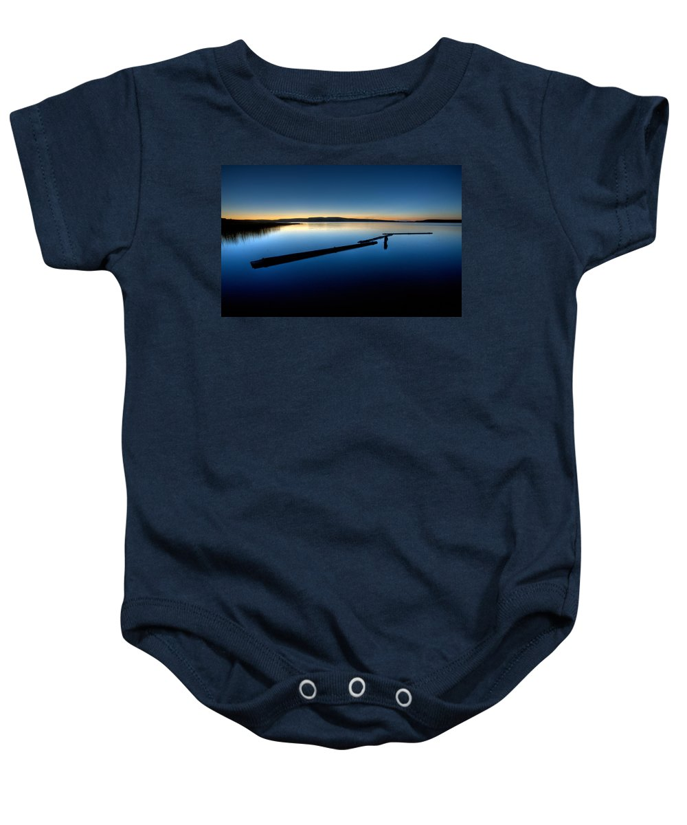 Sunset Baby Onesie featuring the digital art Northern Lake Evening by Mark Duffy
