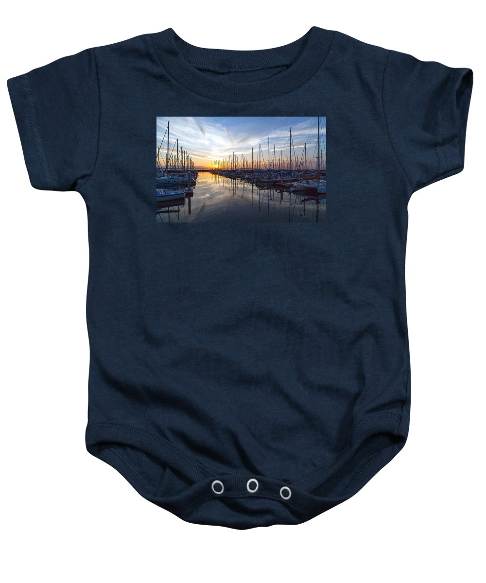 Sunset Baby Onesie featuring the photograph Shilshole Tranquility by Mike Reid