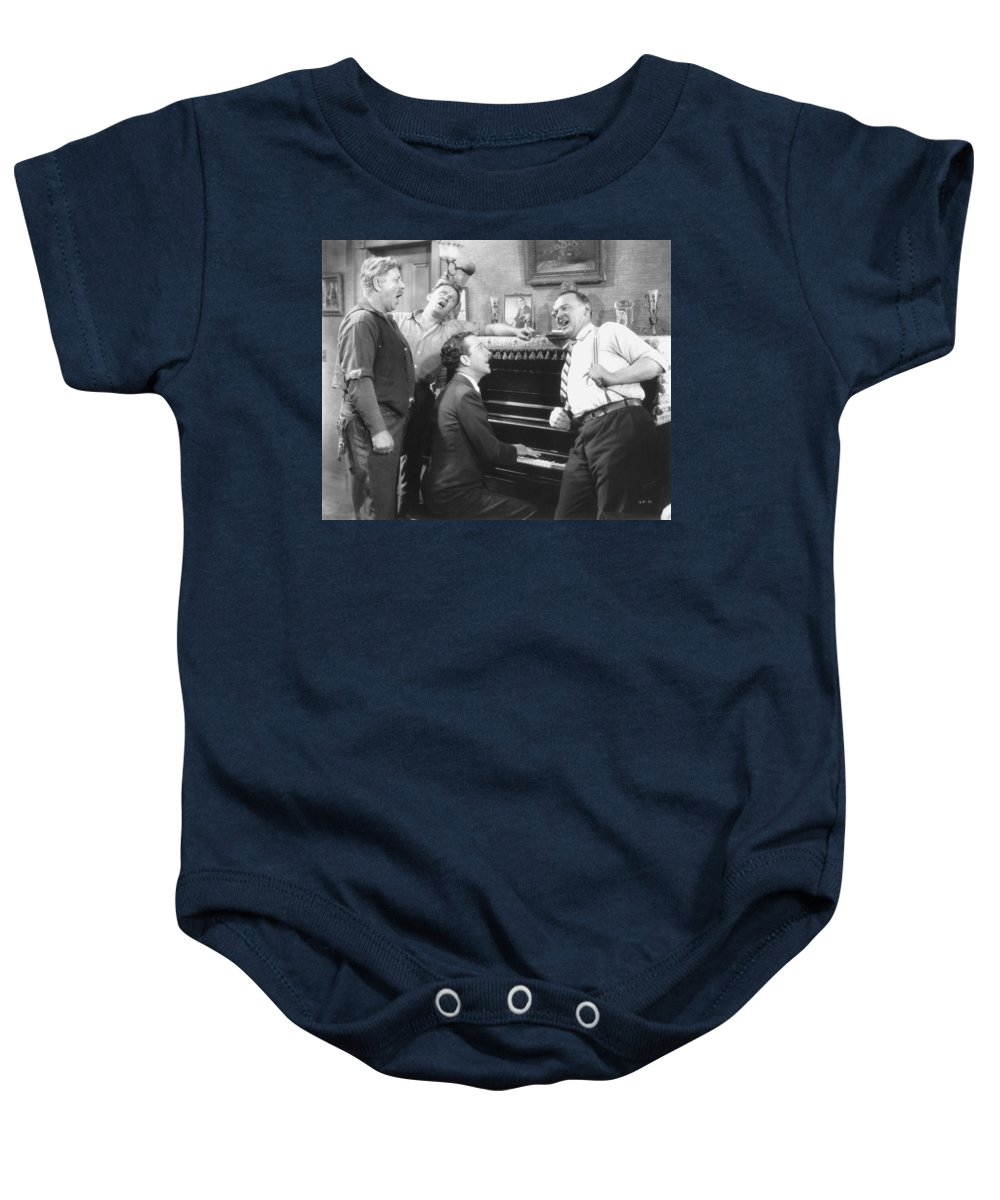 -music- Baby Onesie featuring the photograph Silent Movie Still by Granger