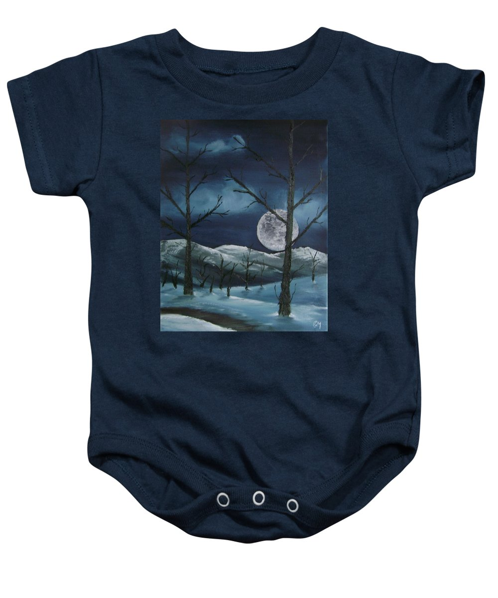 Landscape Baby Onesie featuring the painting Winter Night by Charles and Melisa Morrison