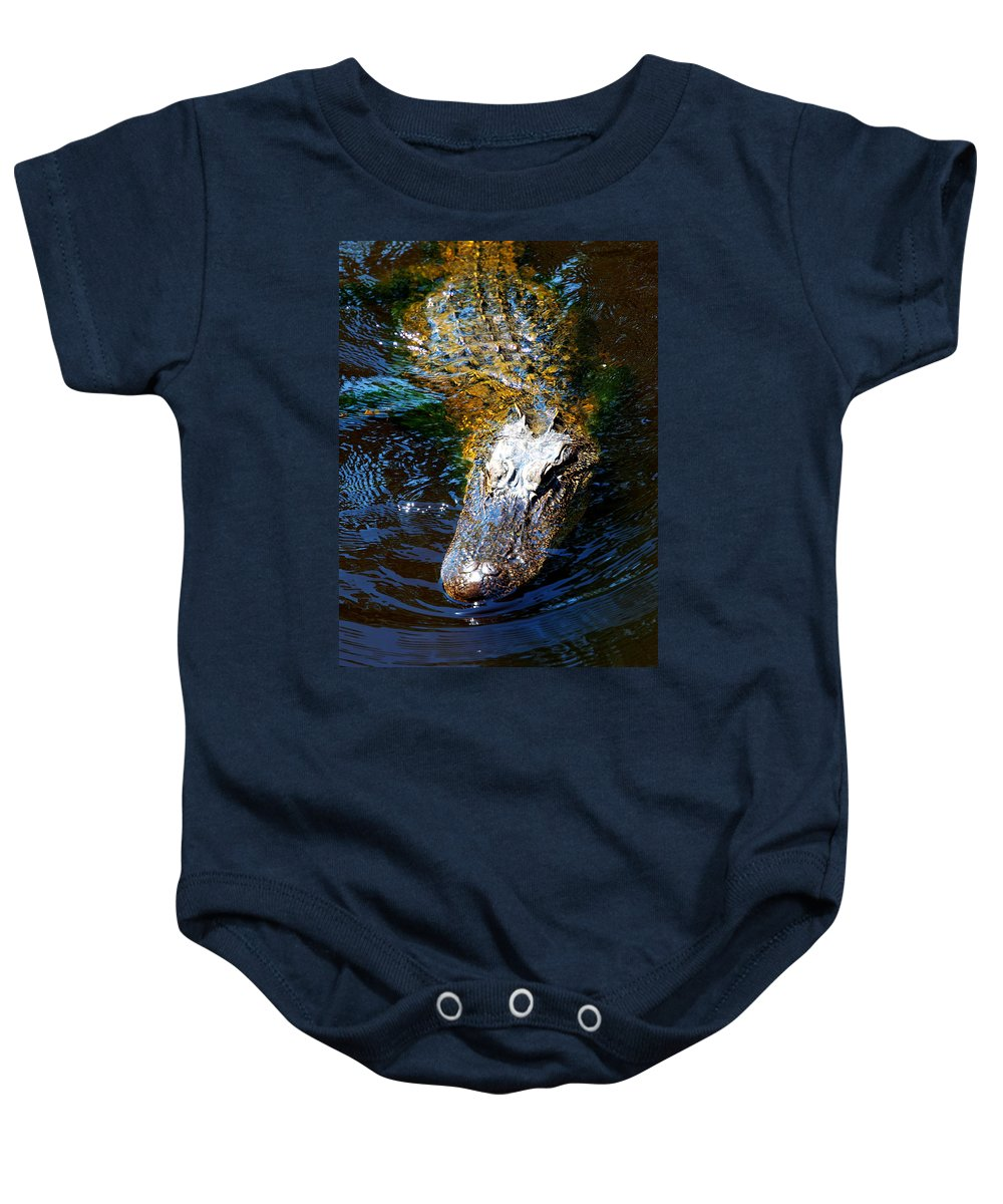 Alligator Baby Onesie featuring the photograph Alligator In Mississippi River by Paul Ge