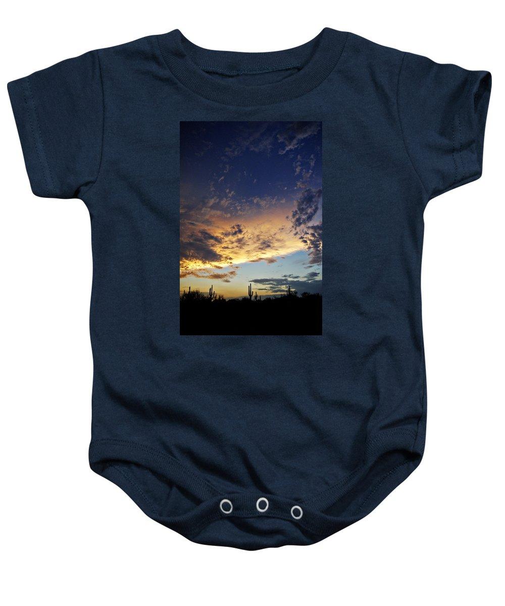 Sunset Baby Onesie featuring the photograph A Desert Horizon by Saija Lehtonen