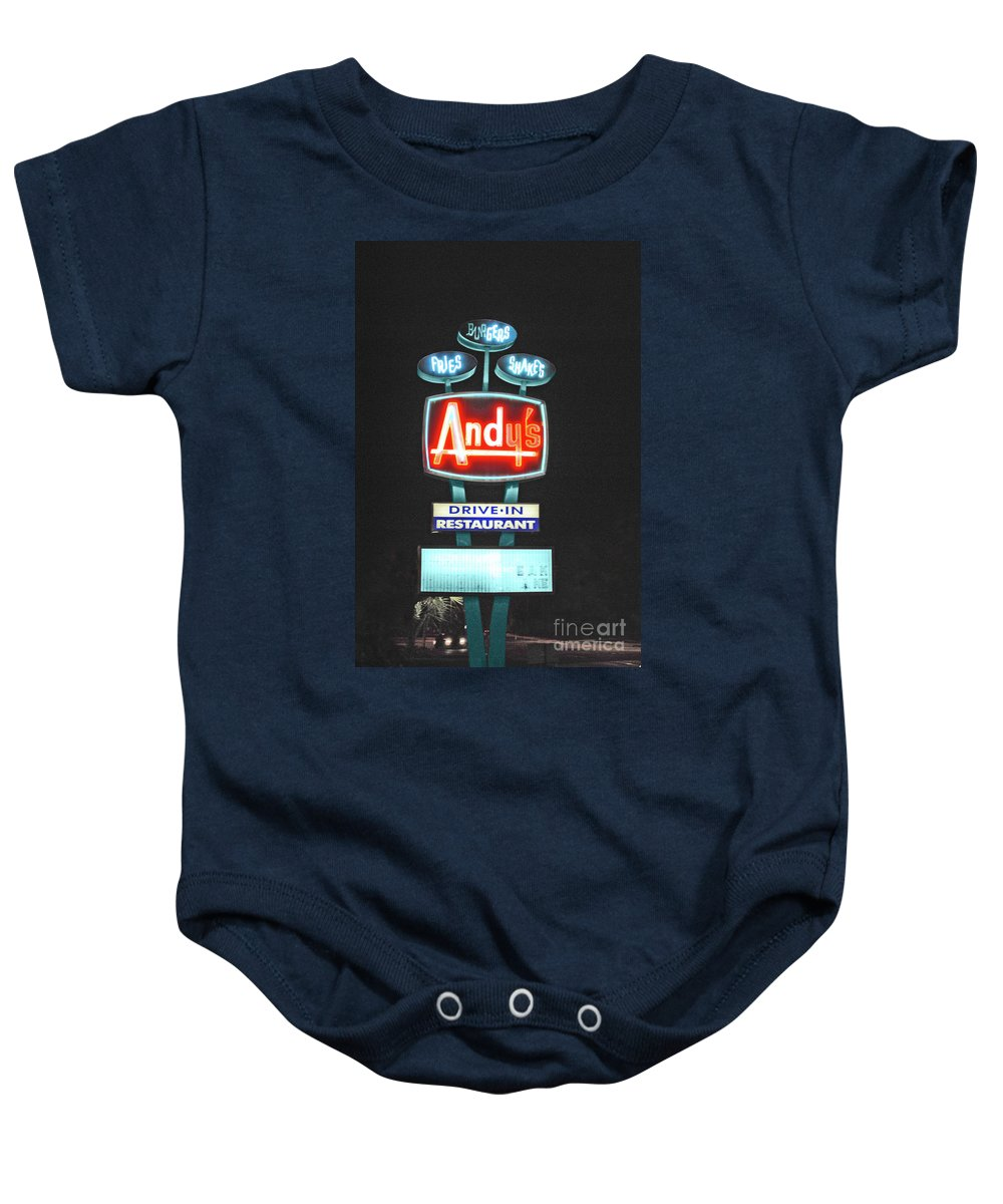 Andy Baby Onesie featuring the photograph Andy's Drive-in by Jost Houk