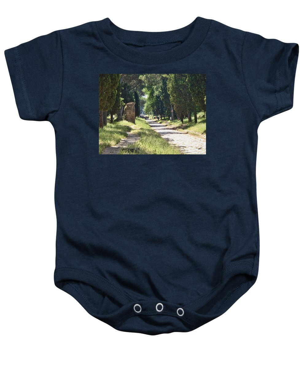 Roman Road Baby Onesie featuring the photograph Appian Way In Rome by David Smith