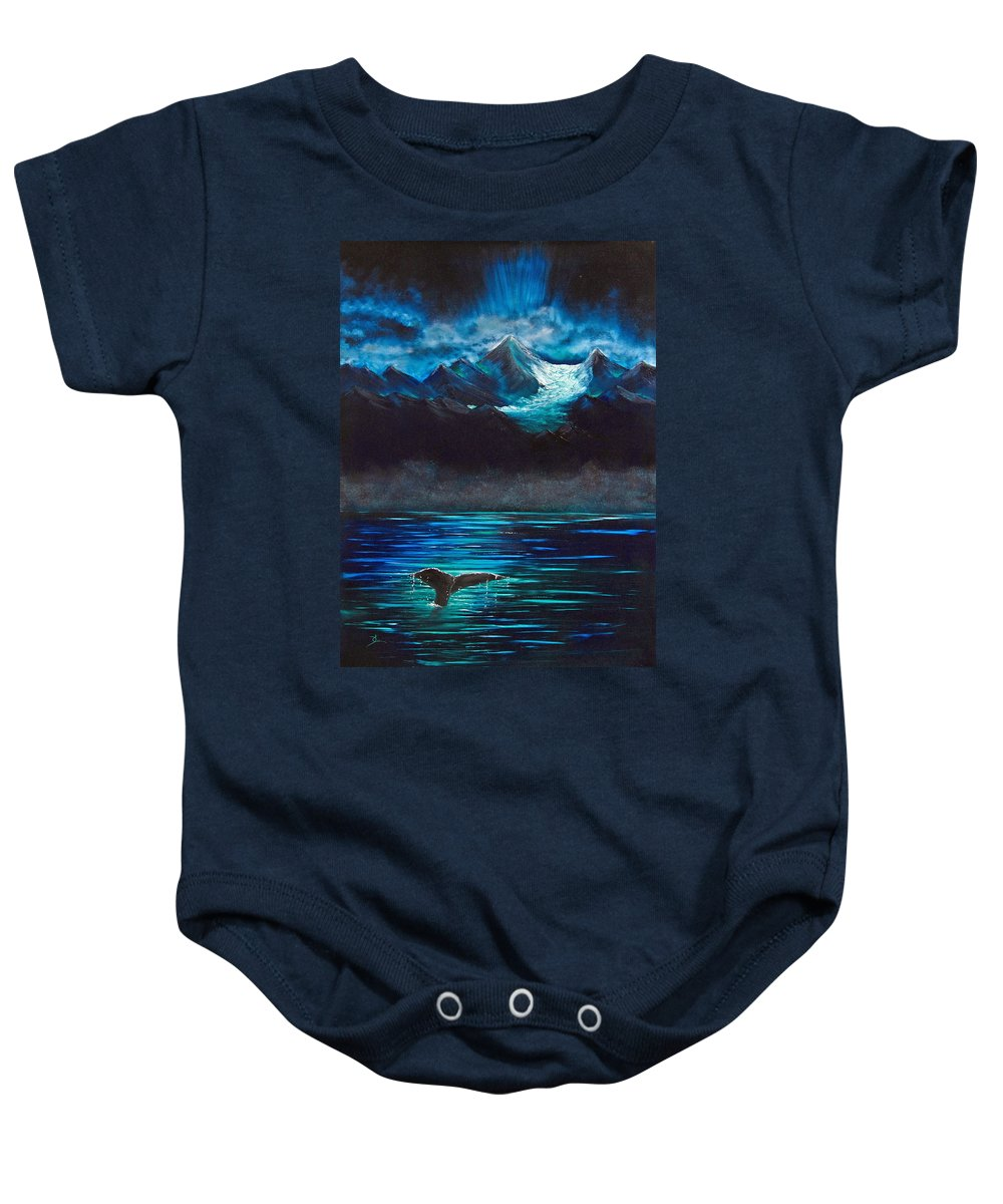 Alaska Baby Onesie featuring the painting At Play Under The Glacier by Dee Carpenter