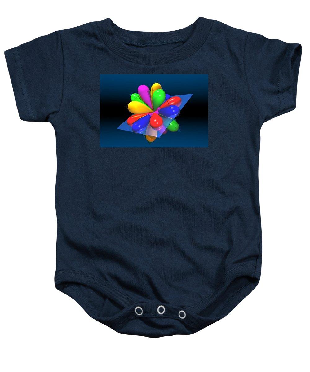 Atom Baby Onesie featuring the digital art Atomic Orbitals by Carol and Mike Werner