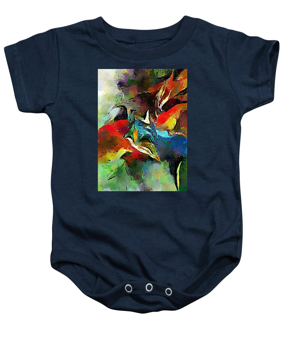 Fine Art Baby Onesie featuring the digital art Autumn Streamside 030212 by David Lane