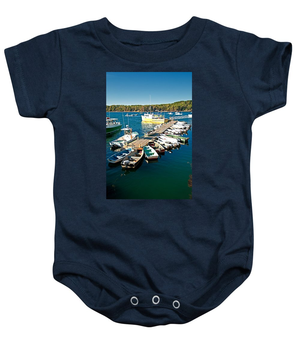 acadia National Park Baby Onesie featuring the photograph Bar Harbor Boat Dock by Paul Mangold