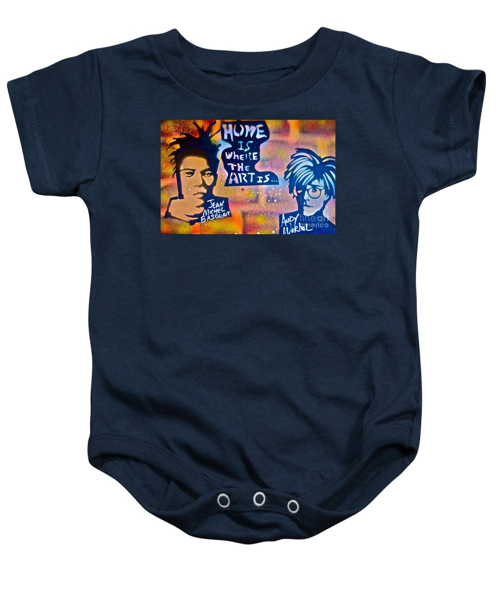 Graffiti Baby Onesie featuring the painting Basquait And Worhol by Tony B Conscious