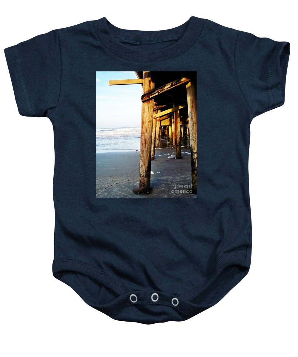 Florida Baby Onesie featuring the photograph Beneath The Pier - Vanilla Pop by Chris Andruskiewicz