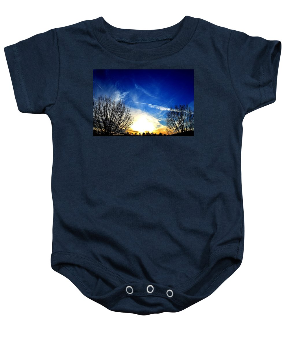 Between Baby Onesie featuring the photograph Between Two Trees by Maria Urso