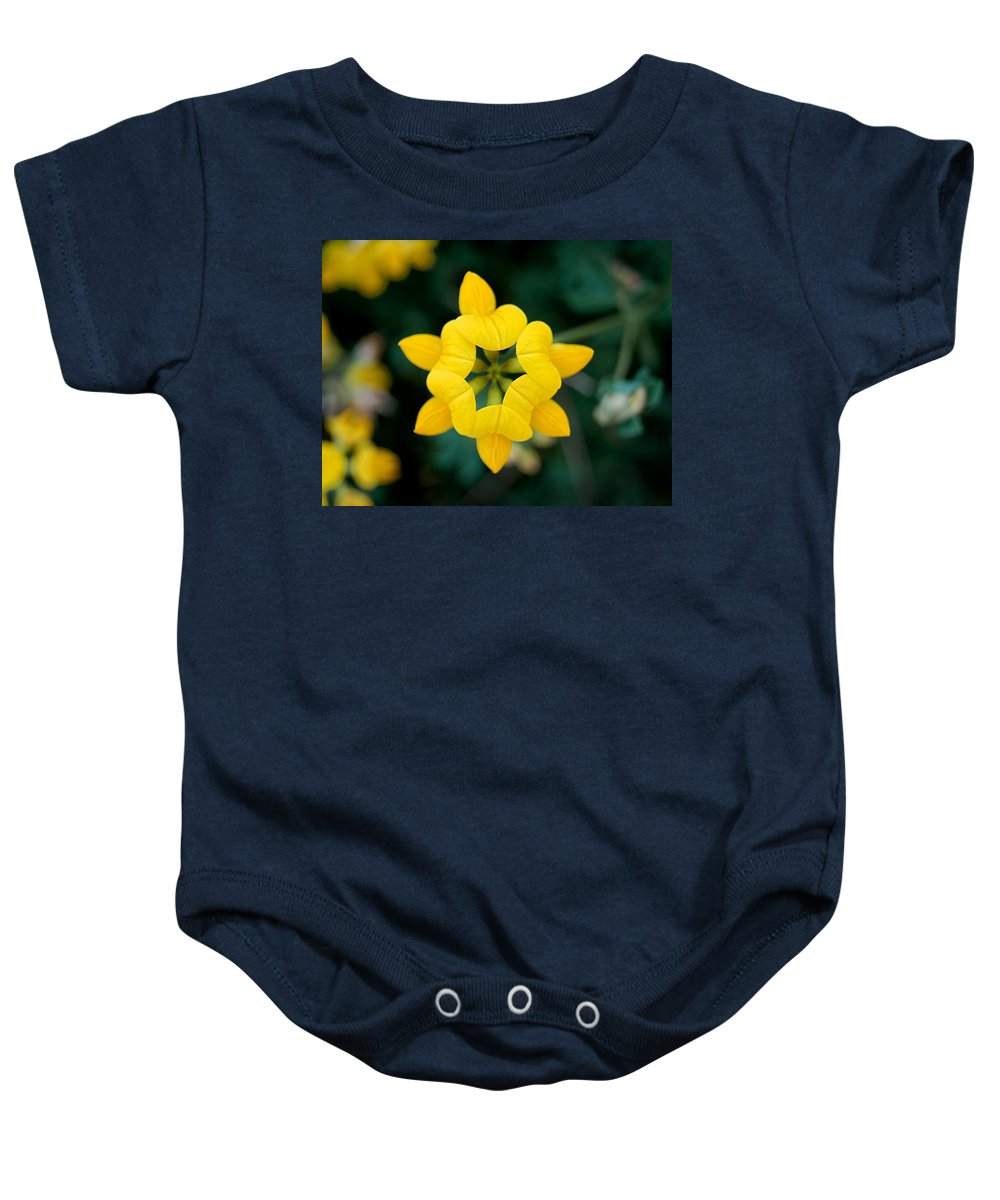 Birdsfoot Baby Onesie featuring the photograph Bird's Foot Trefoil by Bill Pevlor