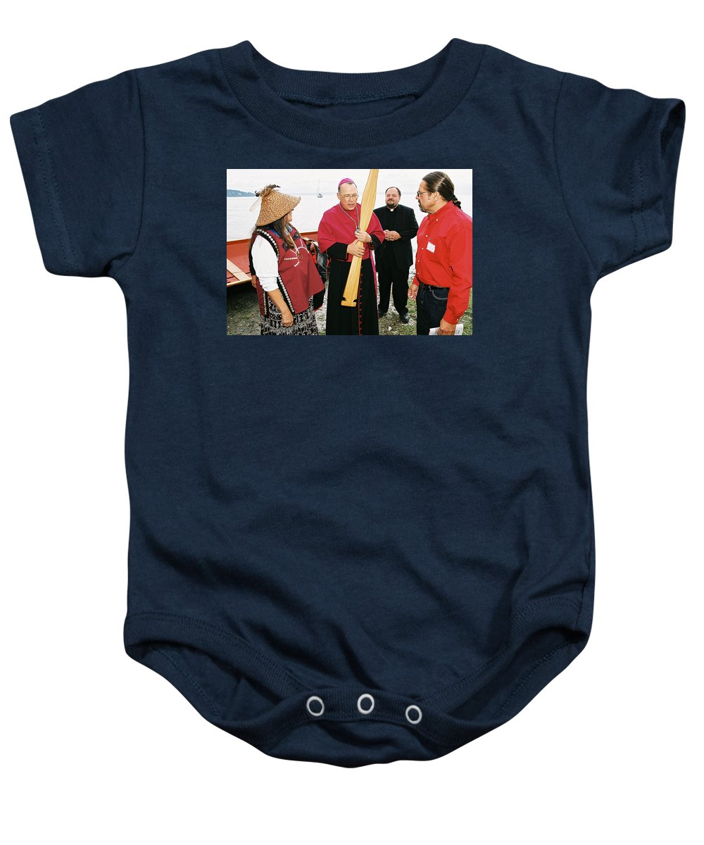 Archbishop Brunett Baby Onesie featuring the photograph Bishop Arrives Two by Mike Penney