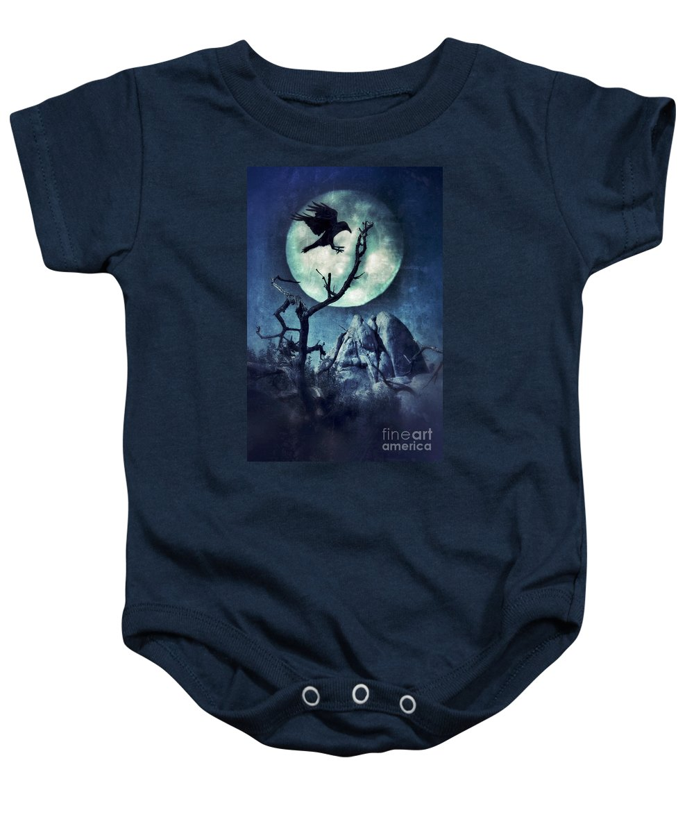 Spooky Baby Onesie featuring the photograph Black Bird Landing On A Branch In The Moonlight by Jill Battaglia