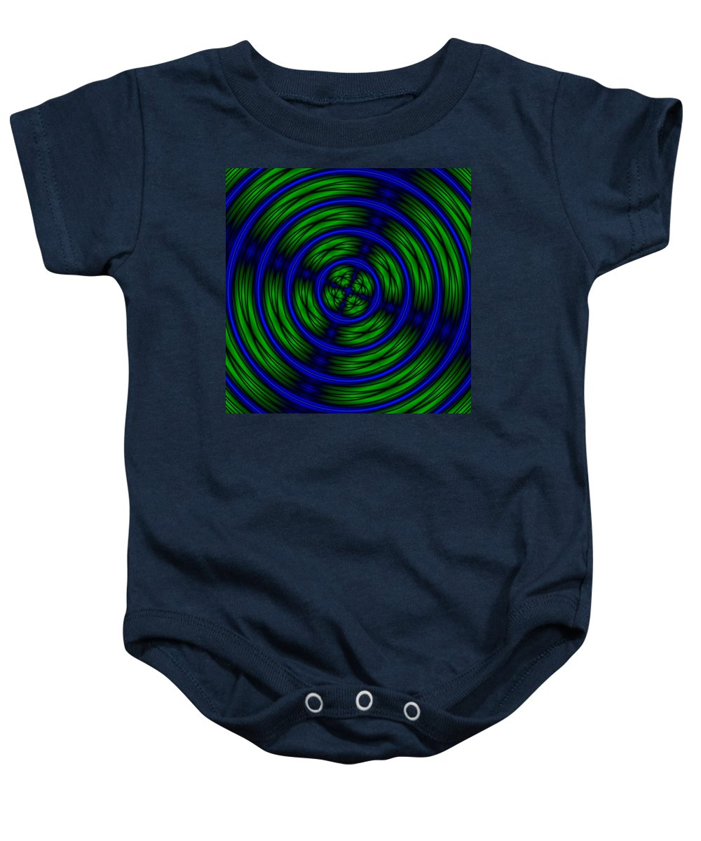 Digital Baby Onesie featuring the digital art Blue And Green Abstract by Christy Leigh