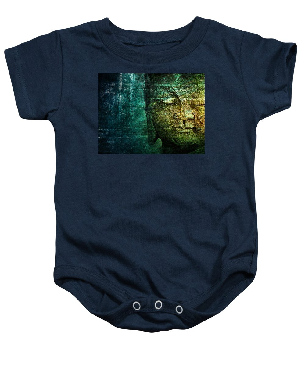 Buddha Baby Onesie featuring the photograph Blue Buddha by Claudia Moeckel