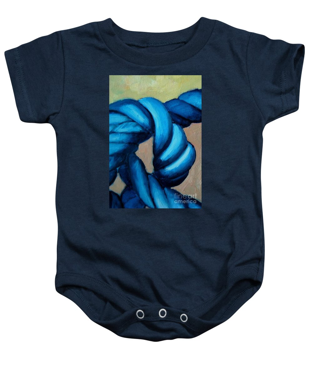 Knot Baby Onesie featuring the painting Blue Rope 2 by Ana Maria Edulescu
