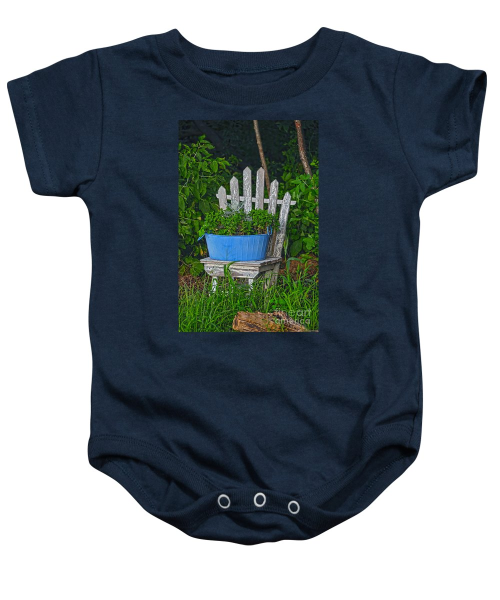 Planter Baby Onesie featuring the photograph Blue Tub by David Arment