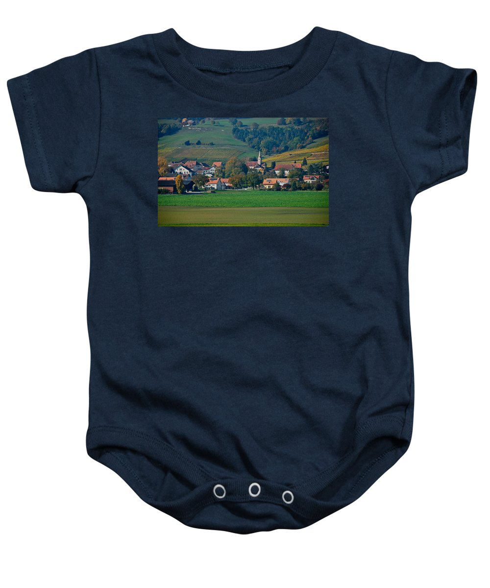 Timeless Baby Onesie featuring the photograph Bonvillars by Eric Tressler