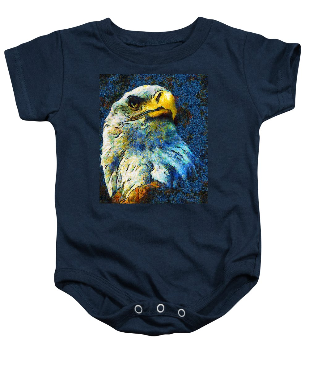 Eagle Baby Onesie featuring the mixed media Born To Be Free by Georgiana Romanovna