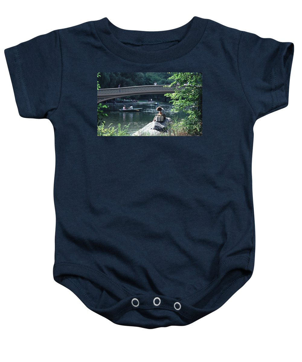 Arch Baby Onesie featuring the photograph Bow Bridge In Central Park Nyc by Tom Wurl