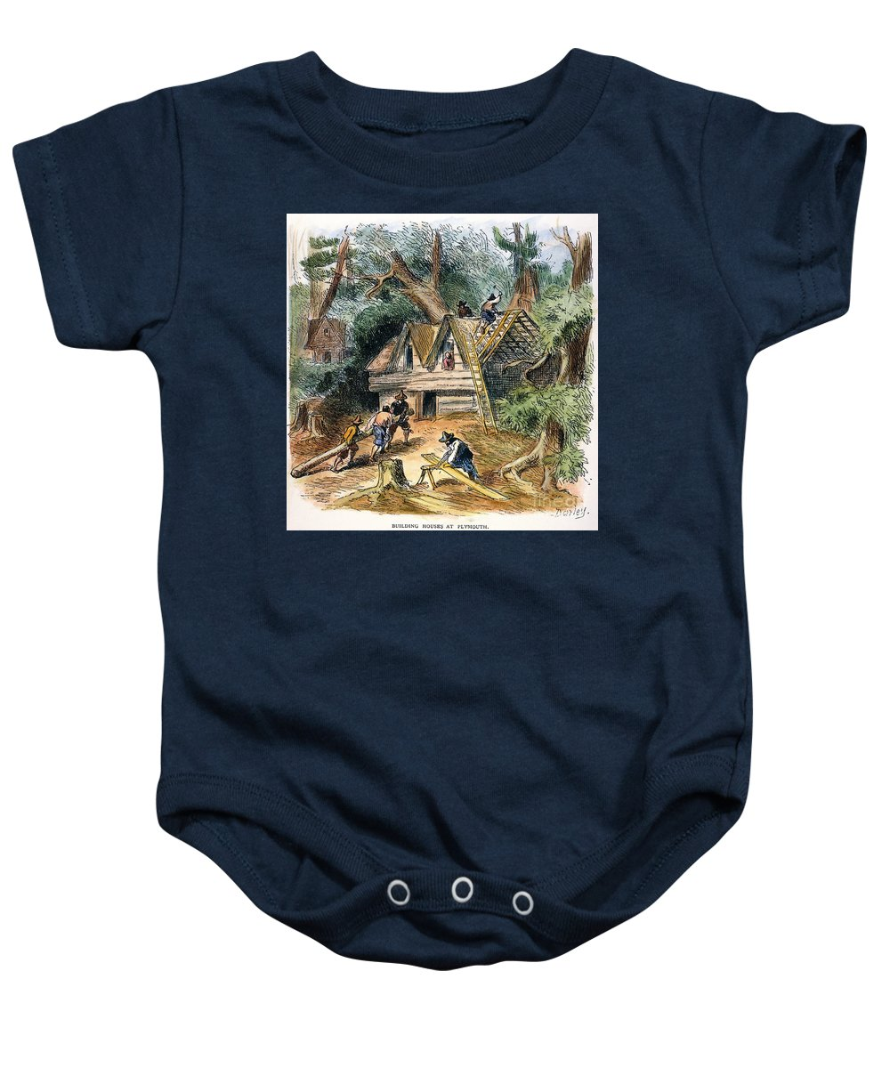 17th Century Baby Onesie featuring the photograph Building Houses, 17th C by Granger