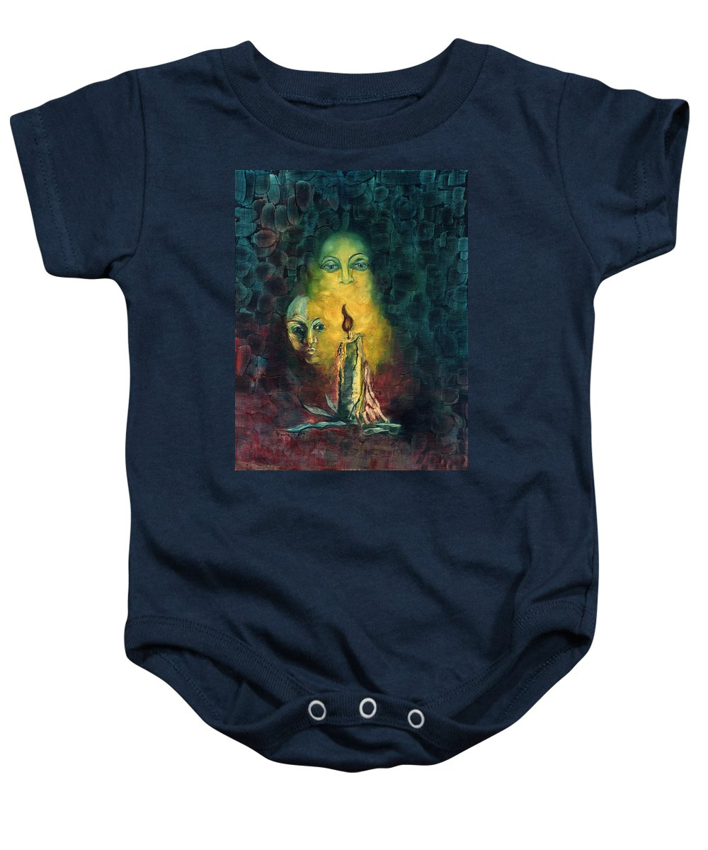 Candle Baby Onesie featuring the painting Candle Light Mother Child Faces In Yellow Candle Light Blue Red Background by Rachel Hershkovitz