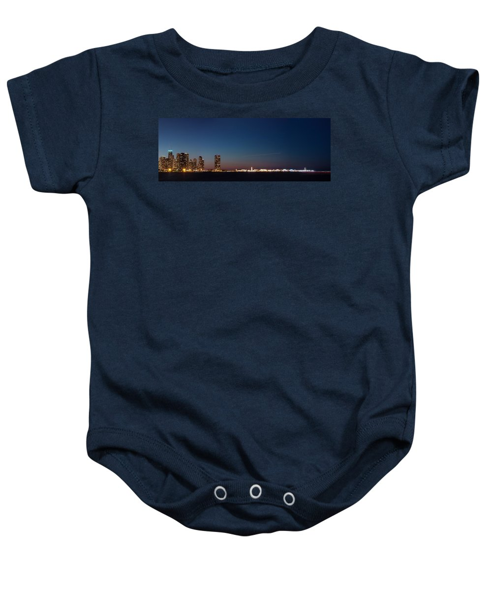 Architecture Baby Onesie featuring the photograph Chicago Navy Pier At Night by Semmick Photo