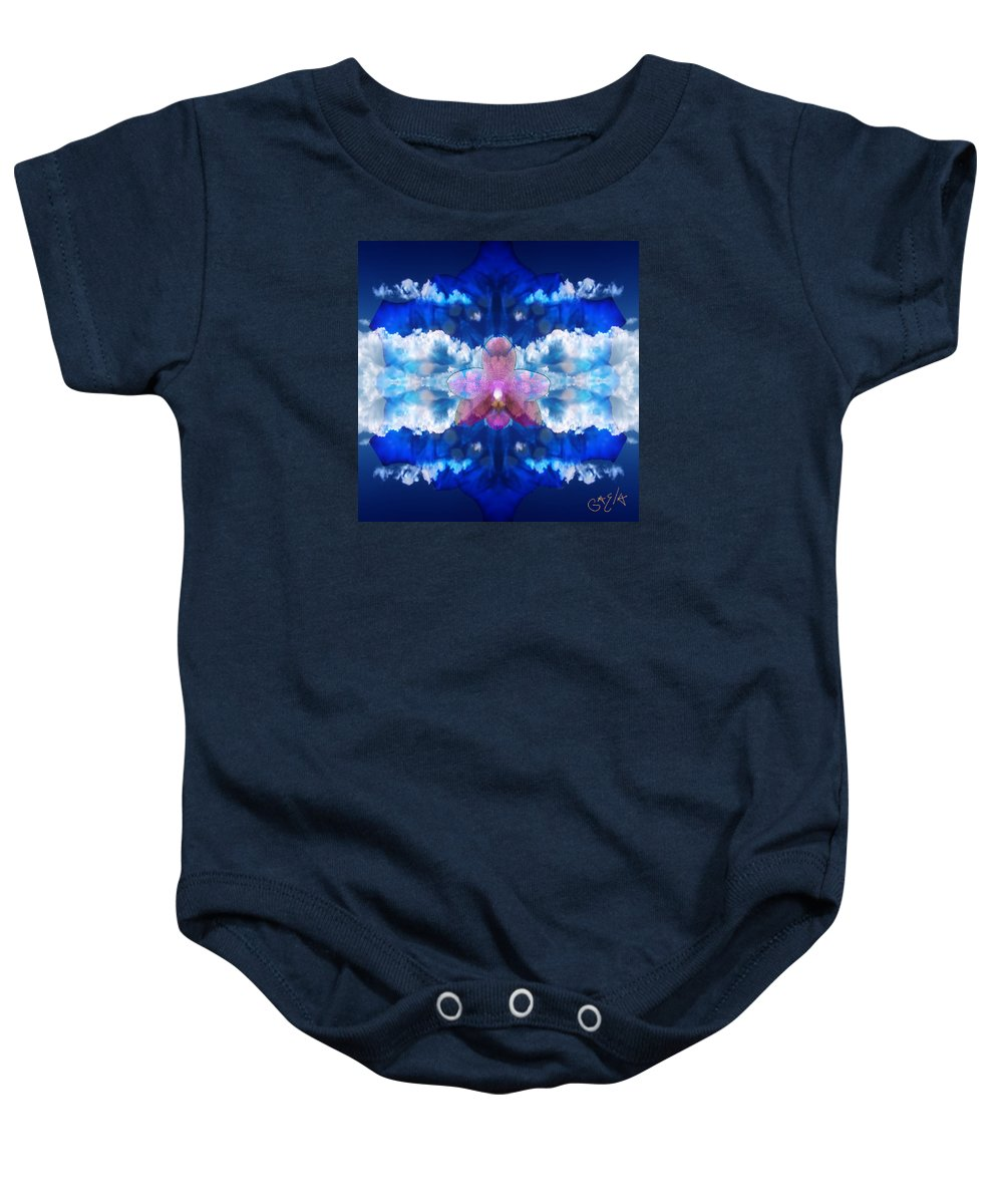 Digital Baby Onesie featuring the digital art Color Sky Orchid by Gaela Cohen