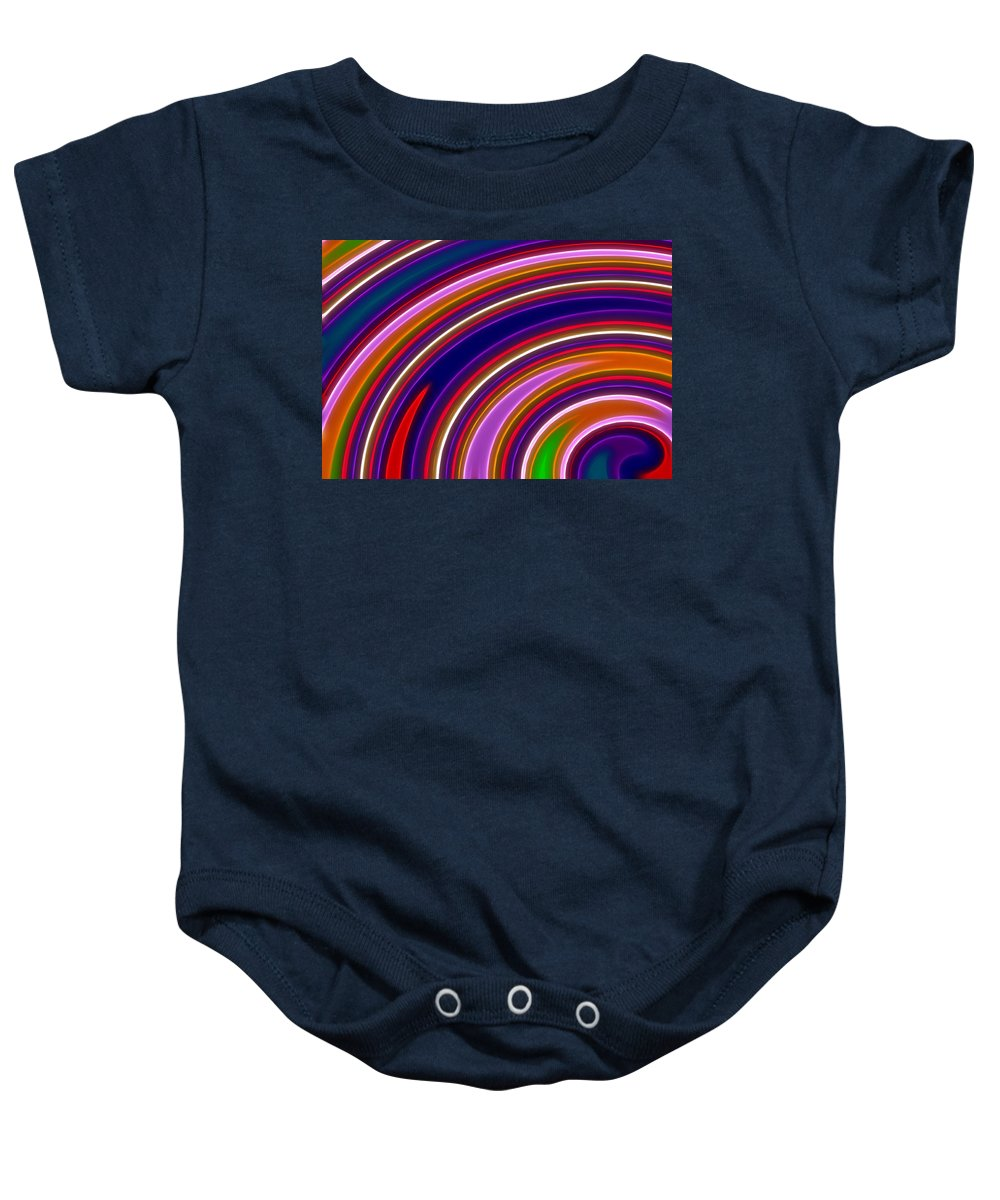 Abstract Baby Onesie featuring the digital art Colorful Swirls by Ricky Barnard
