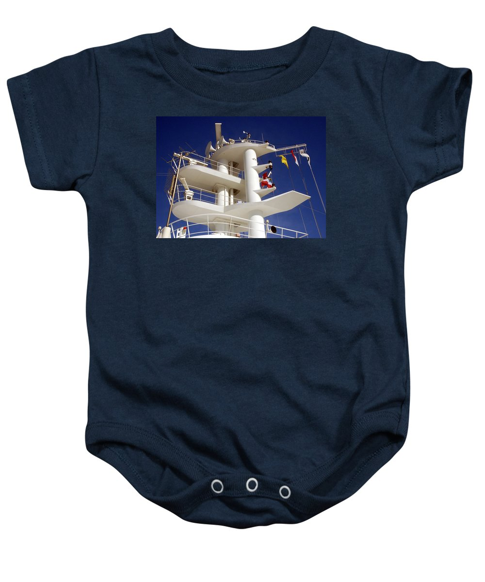 Ship Communication Tower Baby Onesie featuring the photograph Communication Tower by Jon Berghoff