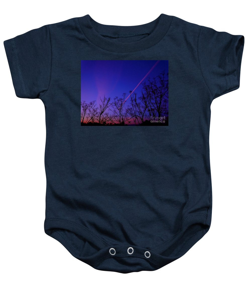 Contrail Baby Onesie featuring the photograph Contrail Contrast by Customikes Fun Photography and Film Aka K Mikael Wallin