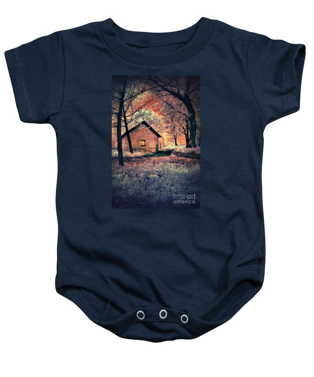 Cabin Baby Onesie featuring the photograph Cottage In The Woods by Jill Battaglia