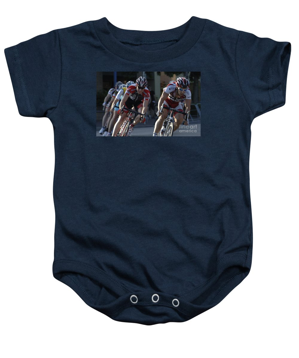 Criterium Baby Onesie featuring the photograph Criterium Bicycle Race 7 by Bob Christopher