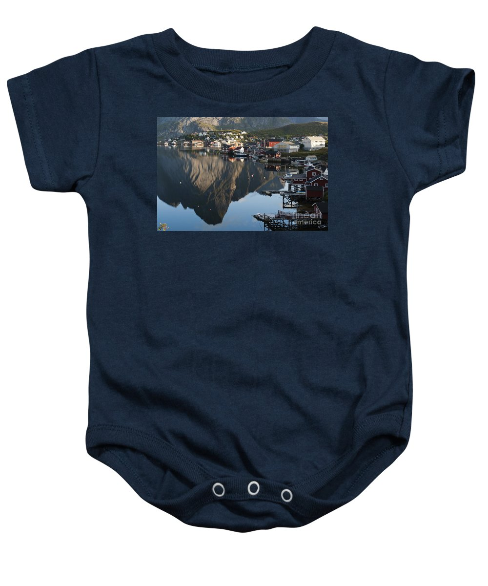 Norway Baby Onesie featuring the photograph Crystal Waters At Reine Village by Heiko Koehrer-Wagner