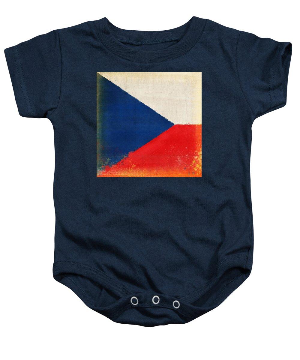 Chalk Baby Onesie featuring the photograph Czech Republic Flag by Setsiri Silapasuwanchai