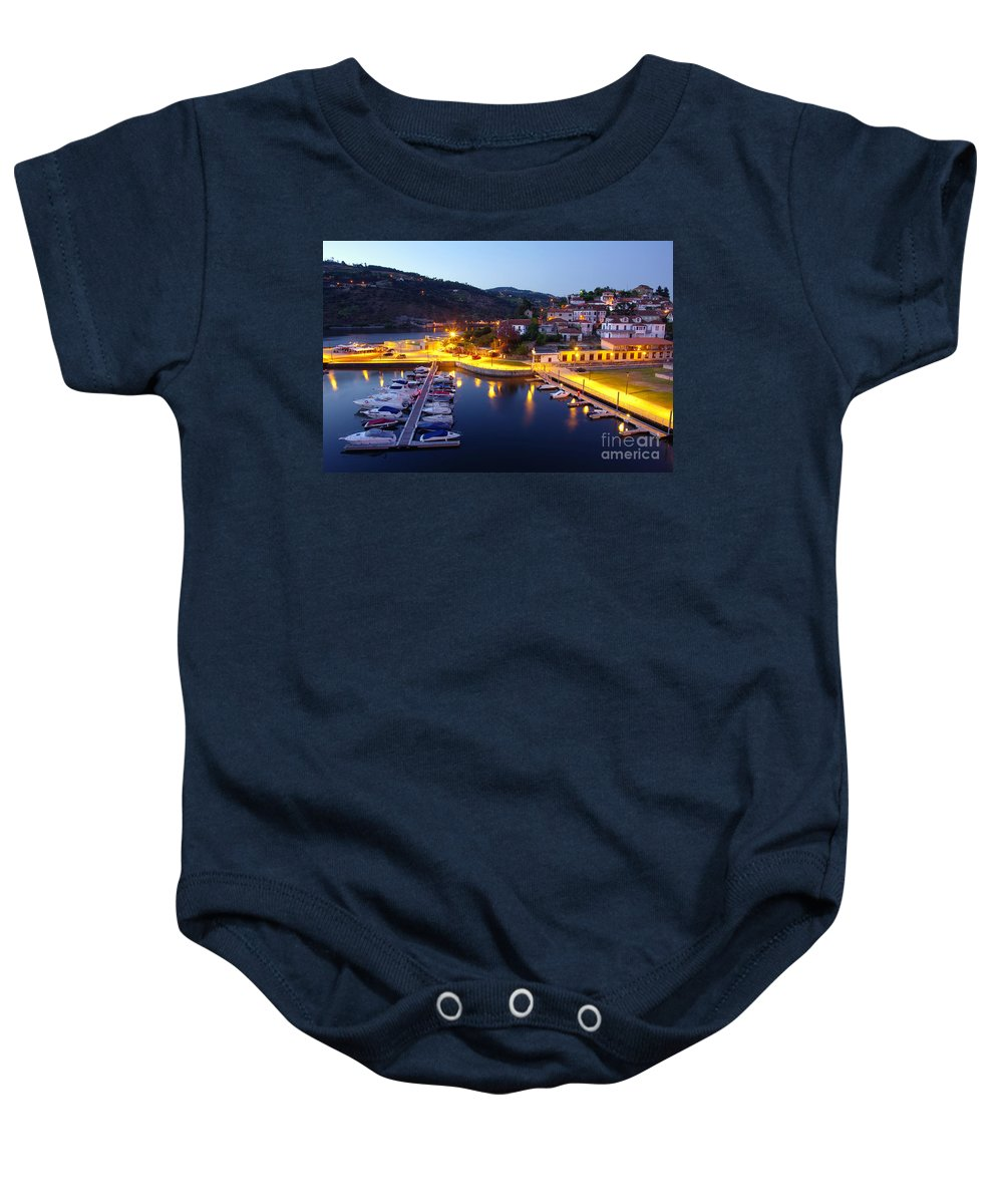 Aregos Baby Onesie featuring the photograph Dock In Douro River by Carlos Caetano