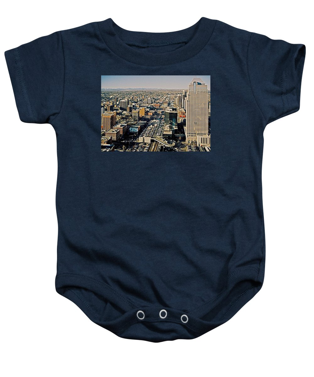 North Armerica Baby Onesie featuring the photograph Downtown Calgary With The Canadian Rockies ... by Juergen Weiss
