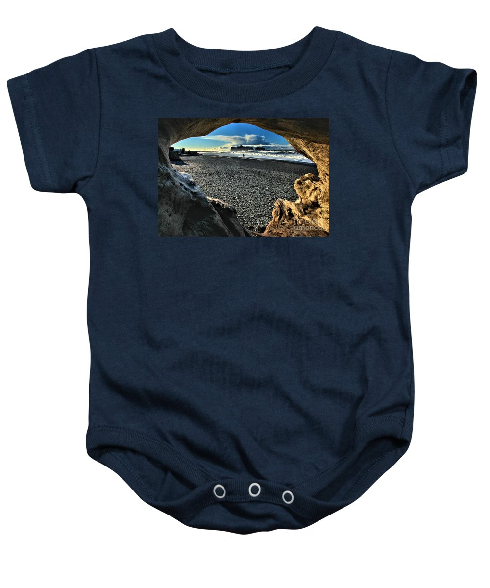 Olympic National Park Baby Onesie featuring the photograph Drift Wood Frame by Adam Jewell