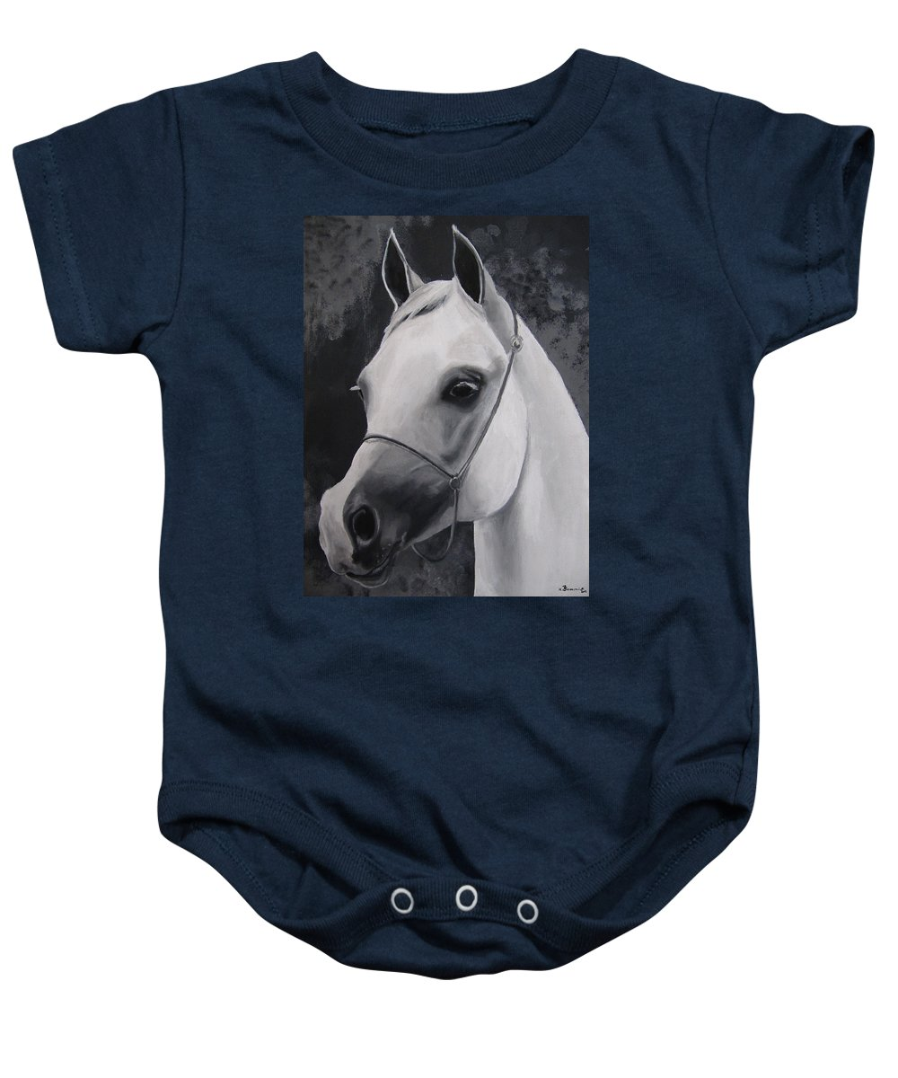 Acrylic Baby Onesie featuring the painting Equestrian Silver by Kayleigh Semeniuk