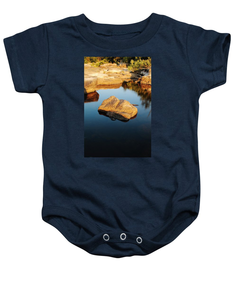 St Francis River Baby Onesie featuring the photograph Evening Light And Rock Tiemann Shut Ins by Greg Matchick