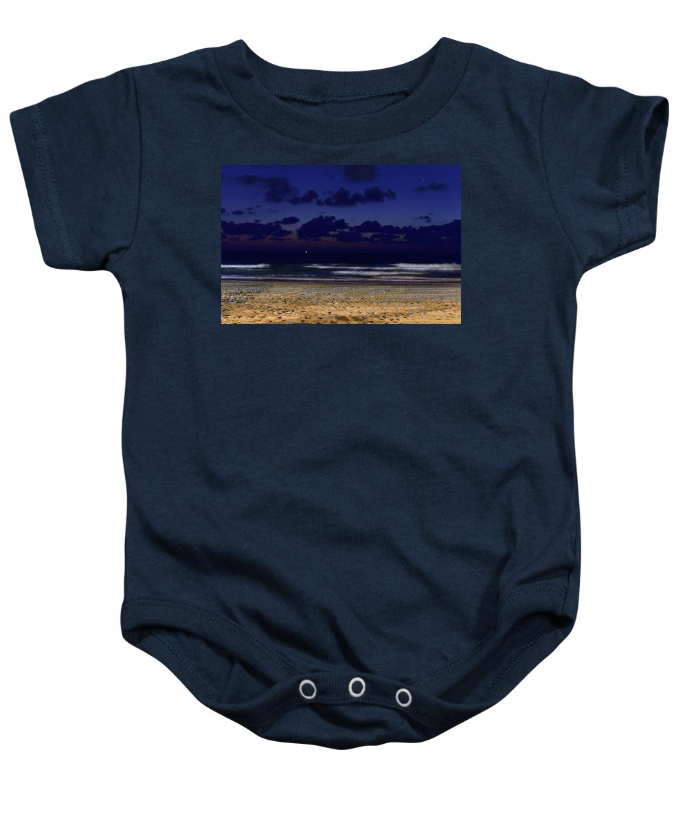 Clouds Baby Onesie featuring the photograph Evening On The Beach by Michael Goyberg