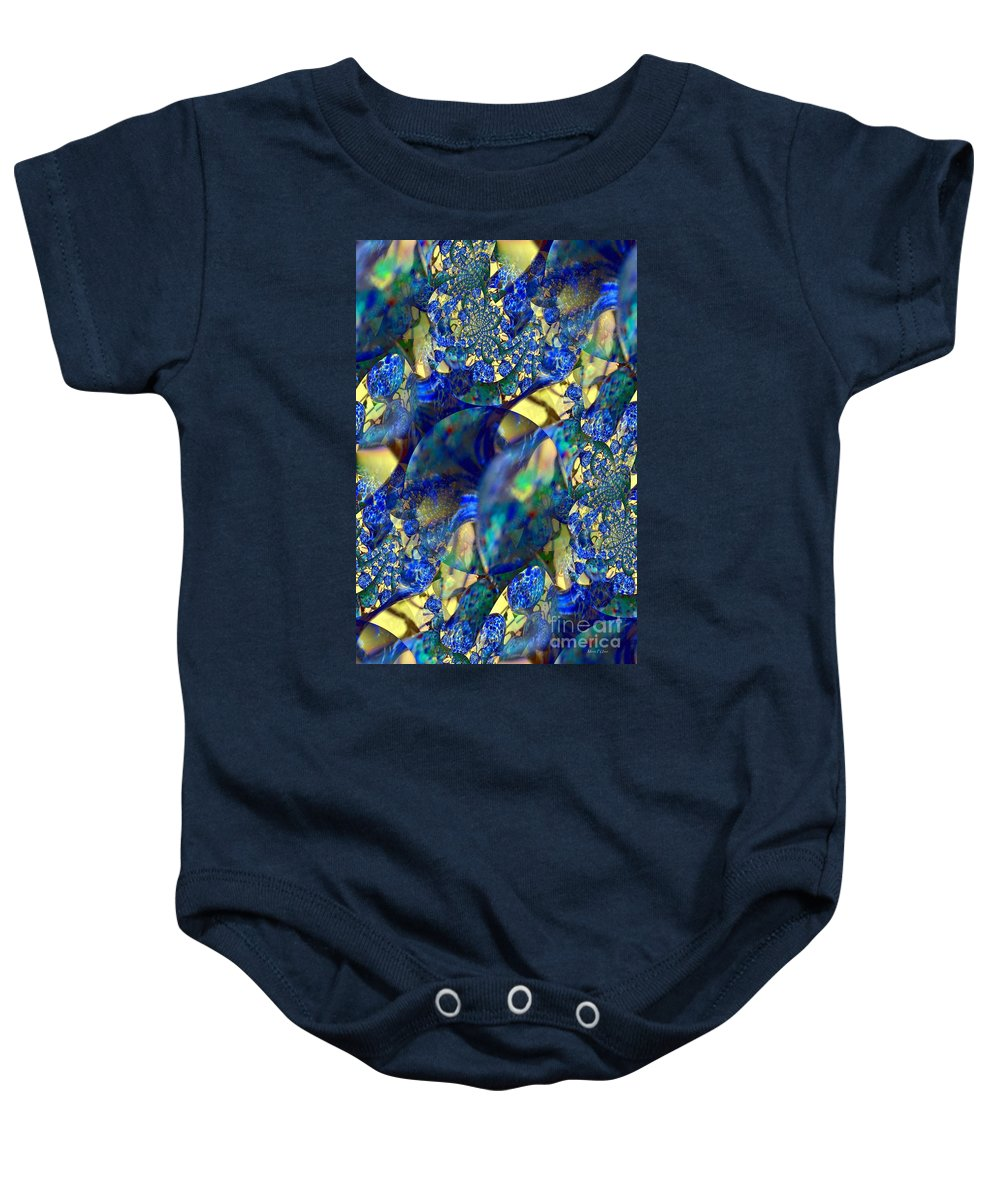 Exquisitely Baby Onesie featuring the digital art Exquisitely Blue by Maria Urso
