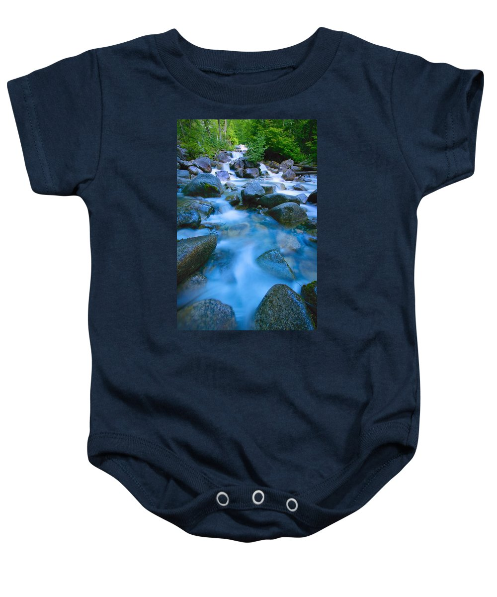 Fresh Baby Onesie featuring the photograph Fast-flowing River by Don Hammond